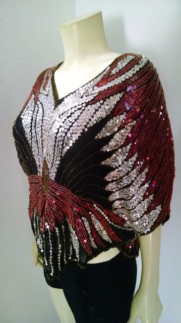 Scala Sequins Vintage Size Small Dress P1568 Top burgundy, black, silver