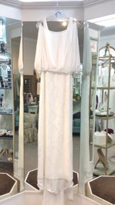 La Sposa Off White Chiffon Ibel Feminine Wedding Dress Size 8 (M)