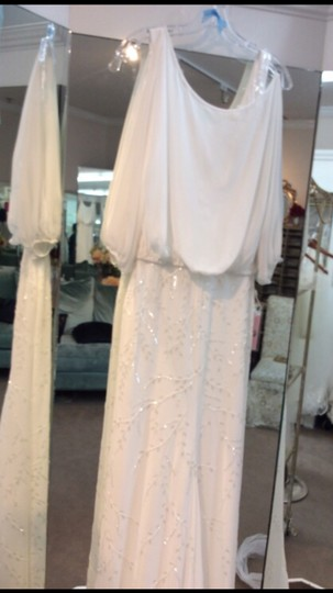 La Sposa Off White Chiffon Ibel Feminine Wedding Dress Size 8 (M) Image 2