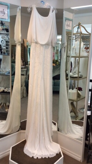 La Sposa Off White Chiffon Ibel Feminine Wedding Dress Size 8 (M) Image 3