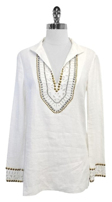 Preload https://item5.tradesy.com/images/tory-burch-white-studded-linen-tunic-size-6-s-5136109-0-0.jpg?width=400&height=650