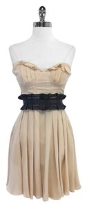 Elizabeth and James short dress Silk Leather Strapless on Tradesy