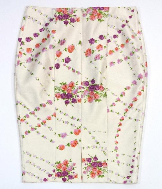 Tracy Reese Floral Print Silk Pencil Skirt Cream & Violet