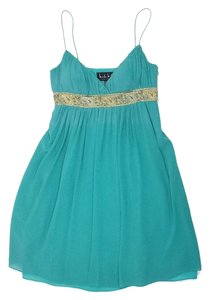 Nicole Miller short dress Teal Embellished Silk on Tradesy