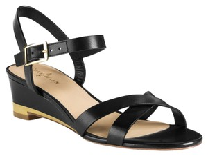 Cole Haan Leather Low Wedge Unworn Black Sandals