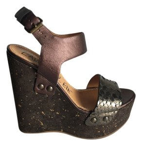 Lanvin Metallic Python Snakeskin Cork Ultra High Wedge Ankle Strap Pre Owned Designer Luxury Consign Sale Brown Sandals