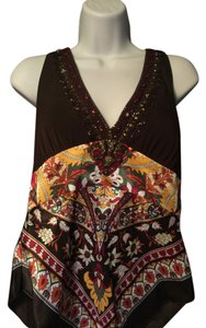 Cache Brown w/Multi-Colored Flowers Halter Top