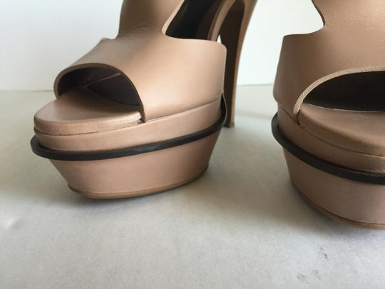Marni Leather Wooden Platform T Strap Pre Owned Designer Sale Luxury Consign Nude Sandals