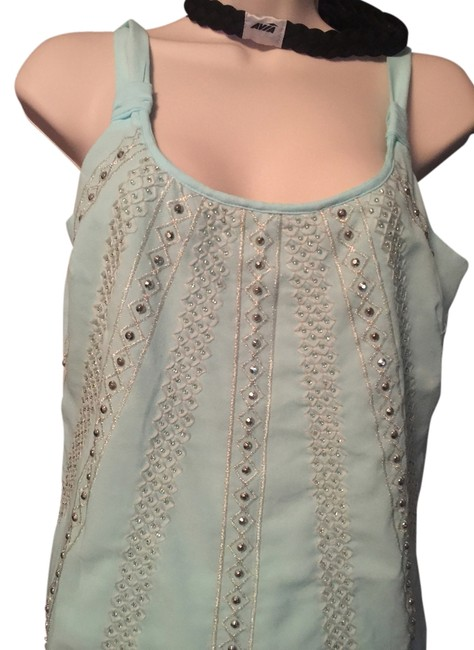 White House | Black Market Whbm Whbm Halter Whbm Top Light Blue with Silver beading Image 1