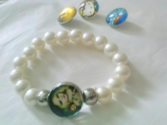 Other New! Snap on button charms bracelet with 4 charms & gift pouch