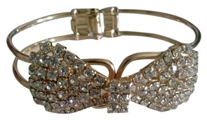 Other Sale! Rhinestone & Golden Bow Bangle Bracelet