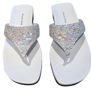 Amanda Smith Sequin Thongs Sequin Size 7.5 Size 7.5 Thongs White Sandals