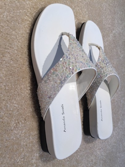 Amanda Smith Sequin Thongs Sequin Size 7.5 Size 7.5 Thongs White Sandals Image 3