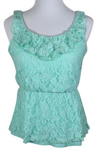 Maurices Lace Allover Lace Peplum Ruffle Sleeveless Gathered Waist Top seafoam green