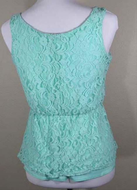 Maurices Lace Allover Lace Peplum Ruffle Sleeveless Top seafoam green