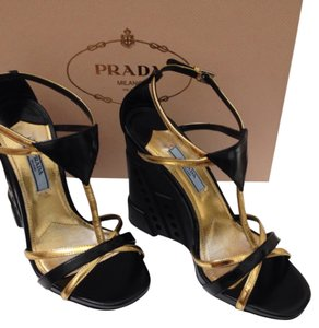 Prada Black/ Gold Wedges