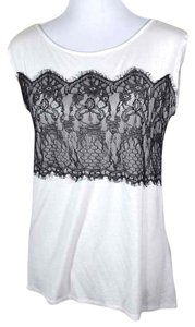 Studio Y Hi Lo Lace Black And Scoop Neck Boat Neck Sleeveless Chiffon Sheer T Shirt white