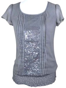 Studio Y Sequin Sparkle Pleated Smock Smocked Bottom Top gray