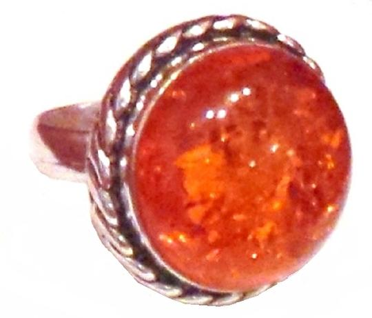 Other Large Amber Cabochon 925 Sterling Silver Ring 7