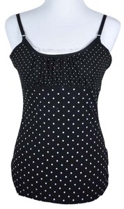 Energie Polka Dot Gathered Bust Top black with white polkadots