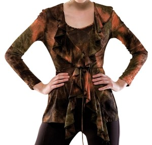 Alberto Makali Top MULTI BURNT ORANGE, BROWN,