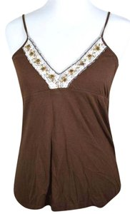 Aropostale Beaded Beaded Trim V-neck Top brown