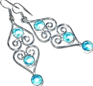 Long Dangle Swiss Blue Topaz 925 Sterling Silver Earrings