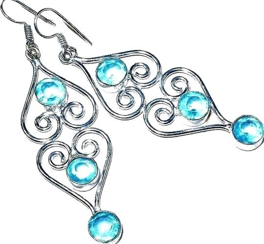 Other Long Dangle Swiss Blue Topaz 925 Sterling Silver Earrings