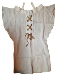 Walter Voulaz short dress Ivory Linen Scoop Neck Metallic Hardware No Pockets Short Sleeve on Tradesy