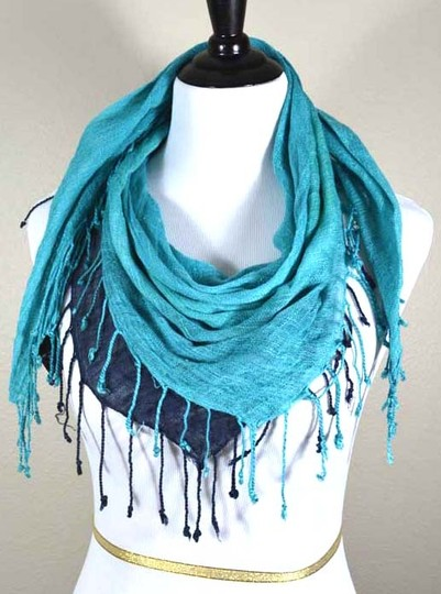 Other Turquoise, Dark Blue, & Green Square Fringed Woven Scarf