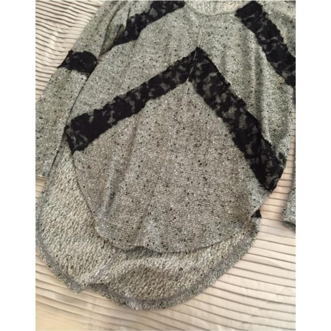 Free People Lace Lace Black And Grey Black And Gray Black And Grey Gray And Black Sweater Image 1