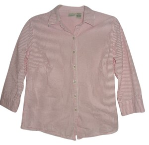 L.L.Bean Button Down Shirt Pink & White Stripe