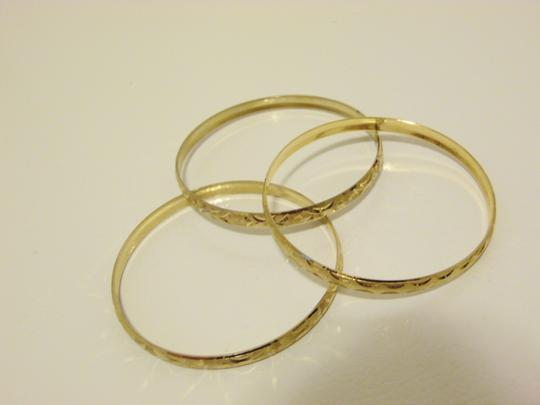 Other Diamond Cut Textured Pattern Slip-on Bangle 3pc Set Size M/L Image 2