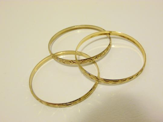 Other Diamond Cut Textured Pattern Slip-on Bangle 3pc Set Size M/L Image 3