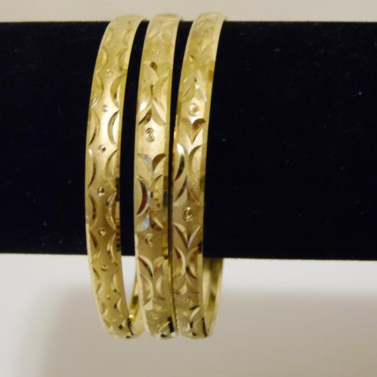 Other Diamond Cut Textured Pattern Slip-on Bangle 3pc Set Size M/L Image 5