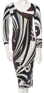 Emilio Pucci Red White V-neck Longsleeve Color-blocking Dress