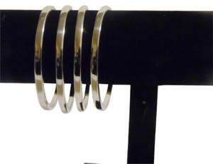 Technibond Technibond High Polished . 925 Sterling Silver Platinum Plated Bangle Set Fits 7 to 7 1/2 Wrist