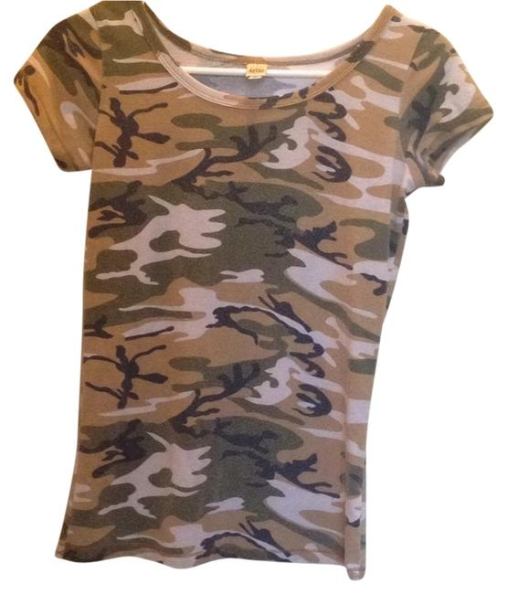 Rag Retro Army Camouflage Sleeve T Shirt Green