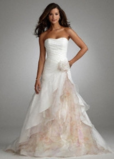 David's Bridal White Organza Split Front Gown with Floral Print Inset S Feminine Wedding Dress Size 14 (L)