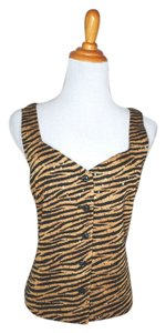 St. John Knit Sleeveless Animal Print Sequin Top Multicolor