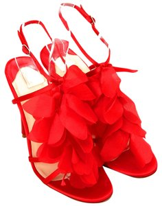 Christian Louboutin Satin Petal 36.5 6.5 Evening Louboutin Bridal Party Cocktail Red Sandals