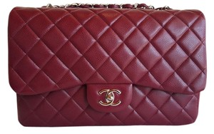 Chanel Red Caviar Jumbo Silver Hardware Shoulder Bag