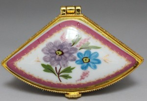 Fan Shaped Porcelain Floral Pattern Ring Box Free Shipping