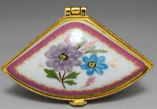 Multi Colored Fan Shaped Porcelain Floral Pattern Ring Box Free Shipping