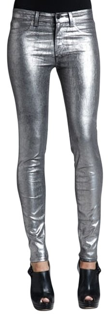 J Brand Pants Coated Wax Metallic Designer Fashion Style Glam Trend Modern Cool Edgy Urban Chic Club Statement Skinny Jeans-Coated