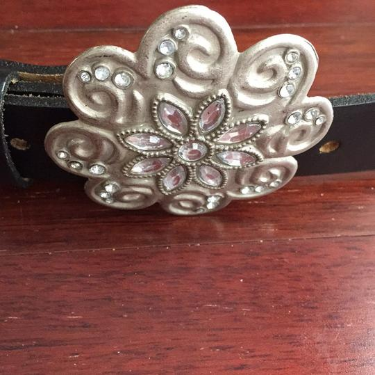 Black Leather Belt with Silver Buckle