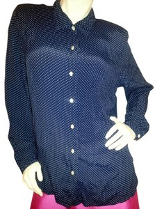 Koret Button Down Shirt Navy Blue with polka dots