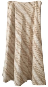 Liz Claiborne Linen Color Skirt Neutral stripes ( cream, tan, light brown)