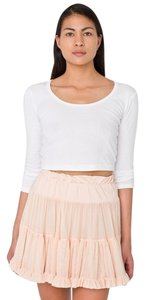 American Apparel Petticoat Cream Alternative Ruffles Multi-layered Reversible Mini Skirt ballet pink
