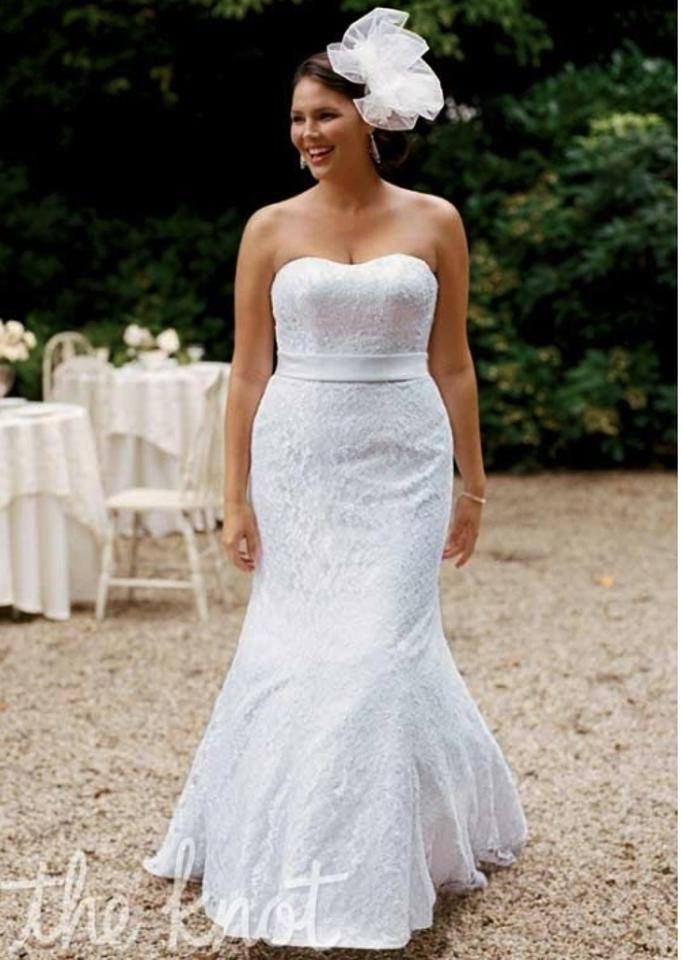 David S Bridal White Lace Wedding Dress Size 14 L